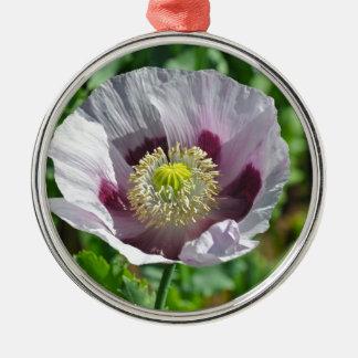 Flor rosada y púrpura de la amapola adorno navideño redondo de metal