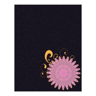 """Flor rosada y púrpura del caleidoscopio folleto 8.5"""" x 11"""""""