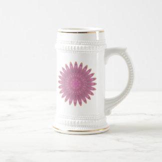 Flor rosada y púrpura del caleidoscopio jarra de cerveza