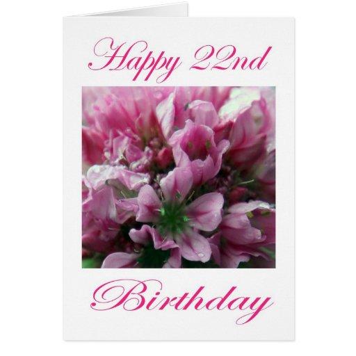 Flor rosada y verde del 22do cumpleaños feliz tarjeta de felicitación