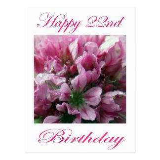 Flor rosada y verde del 22do cumpleaños feliz postal