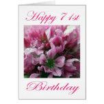 Flor rosada y verde del 71.o cumpleaños feliz felicitacion