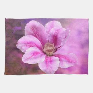 Flor rosado de la flor del Clematis Toallas De Cocina