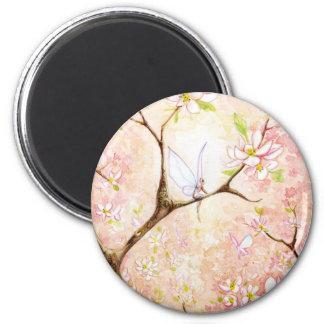 Flor rosado de la visión imán redondo 5 cm