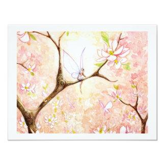 """Flor rosado de la visión invitación 4.25"""" x 5.5"""""""