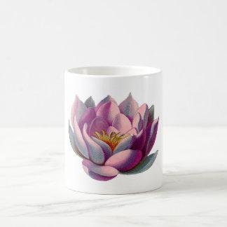 Flor rosado de Lotus Taza Básica Blanca