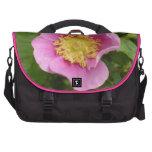 Flor rosado del rosa de arbusto bolsas de portatil