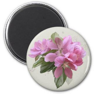 Flor rosado imán redondo 5 cm