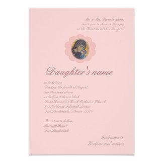 """Flor rosado invitación 5"""" x 7"""""""