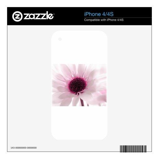 Flor rosado iPhone 4S calcomanías