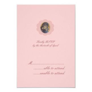"""Flor rosado RSVP Invitación 3.5"""" X 5"""""""