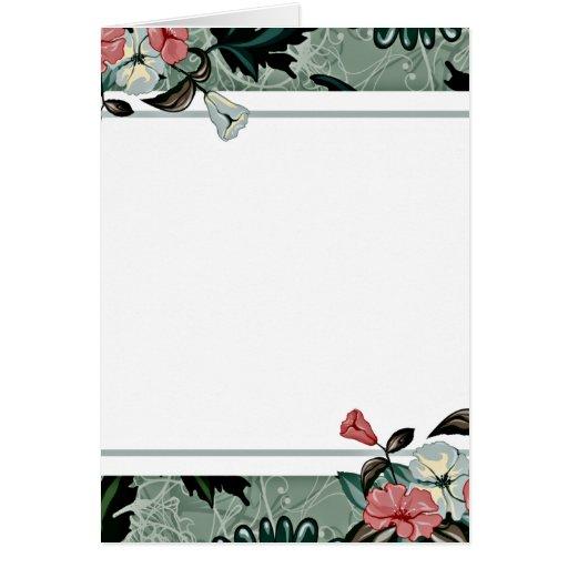 Flor rosado y blanco con remolinos coloridos tarjeta de felicitación