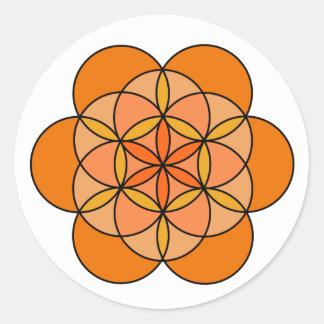 Flor sacra de la vida pegatina redonda