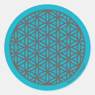 Flor sagrada de la geometría de la vida pegatina redonda
