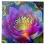 Flor sagrada de la paz y del amor azulejos