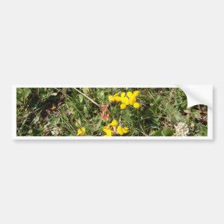 Flor salvaje amarilla etiqueta de parachoque