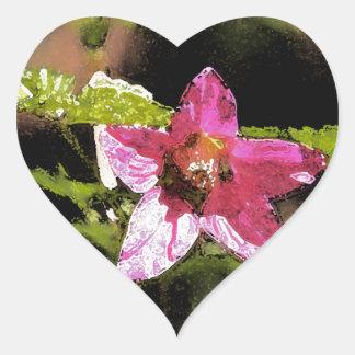 Flor salvaje del Salmonberry de la acuarela Calcomanía De Corazón