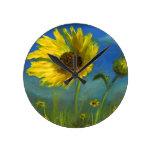 flor salvaje pintada a mano de Oklahoma del froml Relojes De Pared