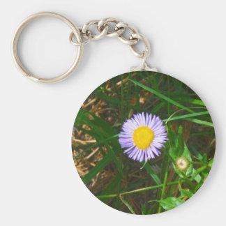 Flor salvaje púrpura llavero redondo tipo pin
