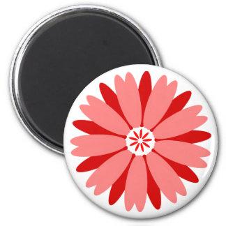 Flor salvaje roja imán redondo 5 cm