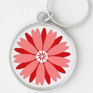 Flor salvaje roja llavero redondo plateado