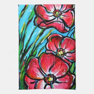 Flor salvaje rosada toalla de mano