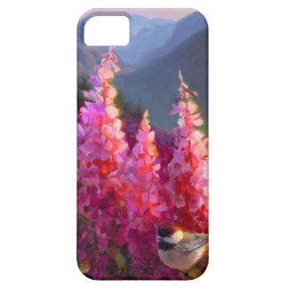 Flor salvaje y Chickadee de Alaska del verano del iPhone 5 Funda