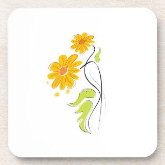 flor simple amarilla graphic.png de la tierra posavasos para bebidas