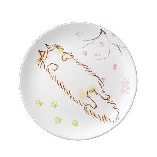 Flor soñoliento mullido del ciruelo del gato plato de cerámica