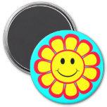 Flor sonriente de la cara imán de nevera