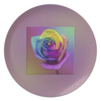 Flor subió arco iris plato