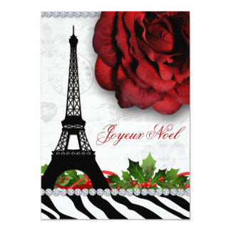 """Flor subió cebra de la torre Eiffel de París del Invitación 5"""" X 7"""""""