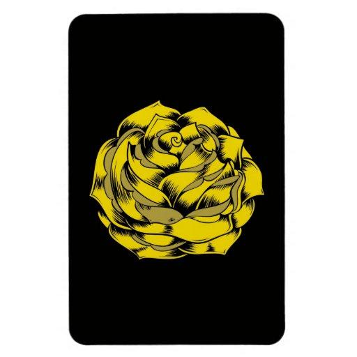Flor subió Grunge en amarillo Imán Foto Rectangular