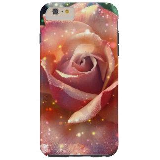 Flor subió melocotón rosado magnífico con los funda para iPhone 6 plus tough