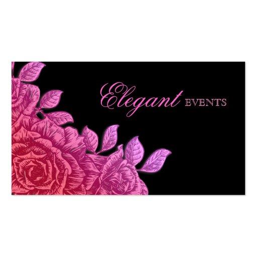 Flor subió planificador de eventos del boda rosada tarjetas de visita
