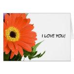 """Flor """"te amo"""" tarjeta de nota en blanco"""