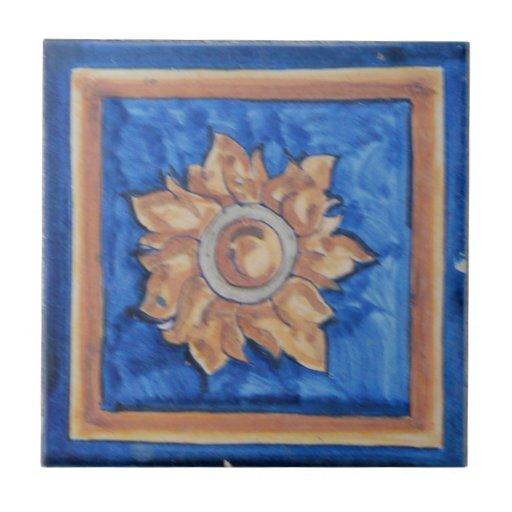 Flor/teja del español de Sun Azulejo Cuadrado Pequeño