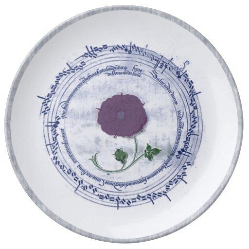 Flor temprana del manuscrito de la música platos de cerámica