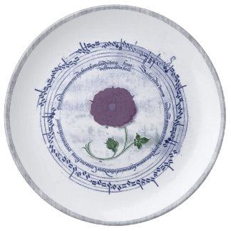 Flor temprana del manuscrito de la música plato de cerámica