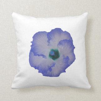 Flor teñida azul del hibisco cojines