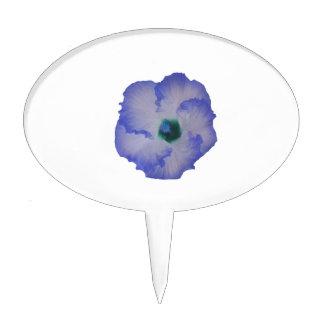Flor teñida azul del hibisco decoración para tarta
