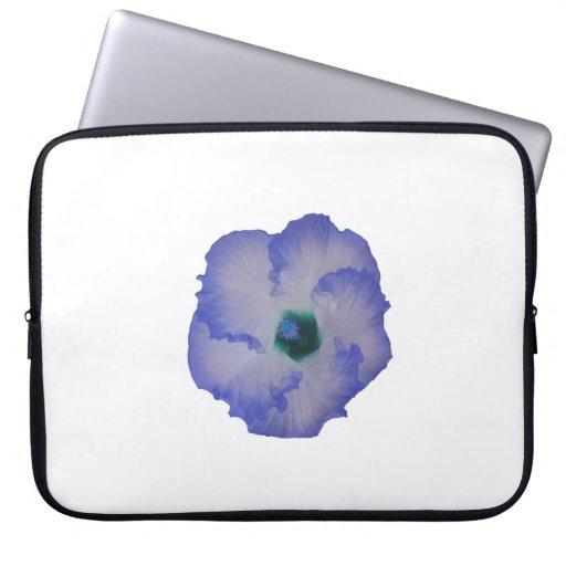 Flor teñida azul del hibisco funda computadora