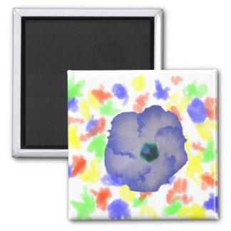 Flor teñida azul del hibisco imán cuadrado
