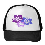 Flor tópica del hibisco en azul, púrpura y lila gorro