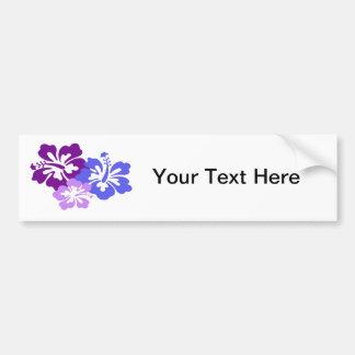 Flor tópica del hibisco en azul, púrpura y lila pegatina para auto