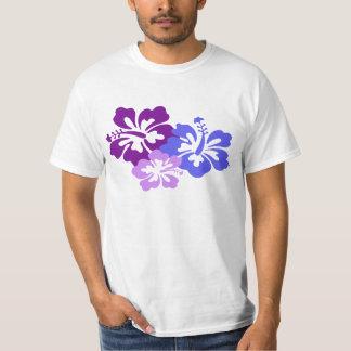 Flor tópica del hibisco en azul, púrpura y lila playera
