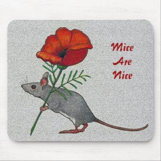 Flor Toting del ratón: Los ratones son Niza: Lápiz Alfombrillas De Ratones