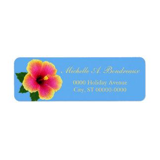 Flor tropical brillante del hibisco etiqueta de remite