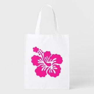 Flor tropical de color rosa oscuro del hibisco bolsas reutilizables