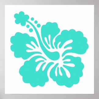 Flor tropical del hibisco de la turquesa póster